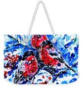 Bullfinches Weekender Tote Bag by Zaira Dzhaubaeva
