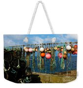 Buoys And Pots In Sennen Cove Weekender Tote Bag by Terri Waters