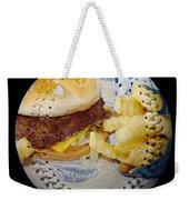 Burger And Fries Baseball Square Weekender Tote Bag