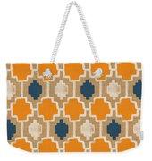 Burlap Blue And Orange Design Weekender Tote Bag by Linda Woods