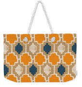 Burlap Blue And Orange Design Weekender Tote Bag