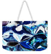 Bursts Of Blue And White - Abstract Art Weekender Tote Bag by Carol Groenen