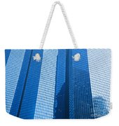 Business Skyscrapers Modern Architecture In Blue Tint Weekender Tote Bag by Michal Bednarek
