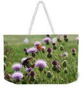 Butterflies And Bull Thistle Wildflowers Weekender Tote Bag