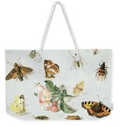 Butterflies Moths And Other Insects With A Sprig Of Apple Blossom Weekender Tote Bag