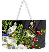Swallowtail Butterfly On White Petunia Flower Weekender Tote Bag