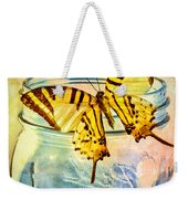 Butterfly Blue Glass Jar Weekender Tote Bag by Bob Orsillo