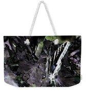 Butterfly In Violet Green And Black Weekender Tote Bag