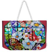 Butterfly Octagon Stained Glass Window Weekender Tote Bag