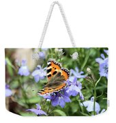 Butterfly On Blue Flower Weekender Tote Bag