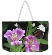 Butterfly On Pink Lillies Weekender Tote Bag