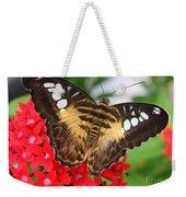 Butterfly On Red Flower Weekender Tote Bag