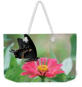 Butterfly On Zinnia Weekender Tote Bag