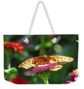 Fritillary Butterfly On Zinnia Weekender Tote Bag