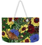 Butterfly Wildflowers Garden Oil Painting Floral Green Blue Orange-2 Weekender Tote Bag