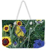 Butterfly Wildflowers Spring Time Garden Floral Oil Painting Green Yellow Weekender Tote Bag
