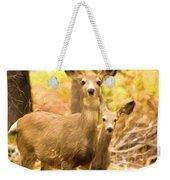 By Mama's Side - Photo Manipulation - Mule Deer - Casper Mountain - Casper Wyoming Weekender Tote Bag