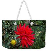 By The Garden Gate - Red Dahlia Weekender Tote Bag