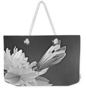Cabbage White Butterfly On Cosmos - Black And White Weekender Tote Bag