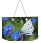 Cabbage White Butterfly On Forget-me-not Weekender Tote Bag