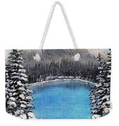 Cabin By The Lake - Winter Weekender Tote Bag by Barbara Griffin