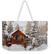 Cabin In Snow Weekender Tote Bag
