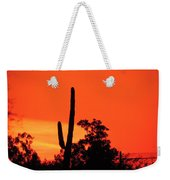 Cactus Against A Blazing Sunset Weekender Tote Bag