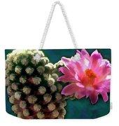 Cactus With Pink Sunlit Bloom Weekender Tote Bag