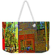 Cafe Window Corner Rue Fabre Near The Bicycle Stand Art Of Montreal Summer Street Scene  Weekender Tote Bag