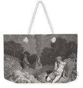 Cain And Abel Offering Their Sacrifices Weekender Tote Bag by Gustave Dore