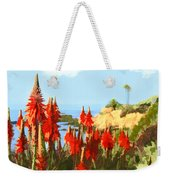 California Coastline With Red Hot Poker Plants Weekender Tote Bag