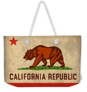 California State Flag Art On Worn Canvas Weekender Tote Bag by Design Turnpike
