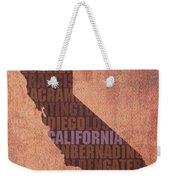 California Word Art State Map On Canvas Weekender Tote Bag