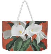 Calla Lilies On A Red Background Weekender Tote Bag