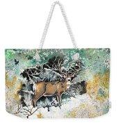 Camouflaged Mule Deer Buck In Winter Weekender Tote Bag
