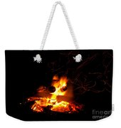 Campfire As A Symbol Of Warmth And Life On Black Weekender Tote Bag
