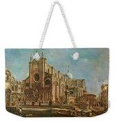 Campo Dei Santi Giovanni E Paolo And The Scuola Grande Di San Marco, Venice Oil On Canvas Weekender Tote Bag