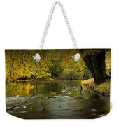 Canada Geese In Autumn Swimming On The Thornapple River Weekender Tote Bag