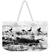 Canada Geese In Black And White Weekender Tote Bag
