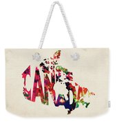 Canada Typographic Watercolor Map Weekender Tote Bag by Inspirowl Design