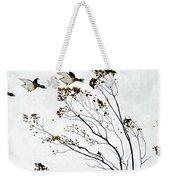 Canadian Geese Over Brown-leafed Trees Weekender Tote Bag