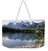 1m3541-canadian Peak Reflected In Herbert Lake Weekender Tote Bag