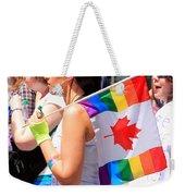 Canadian Rainbow Weekender Tote Bag