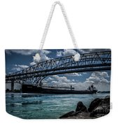 Canadian Tranfer Under Blue Water Bridges Weekender Tote Bag