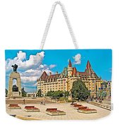 Canadian War Memorial And Chateau Laurier In Ottawa-ontario  Weekender Tote Bag
