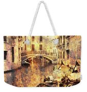 Canal And Docked Gondolas In Venice Weekender Tote Bag