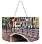 Canal Bridge And Houses In Amsterdam Weekender Tote Bag