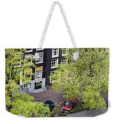 Canal Houses And Houseboat In Amsterdam Weekender Tote Bag