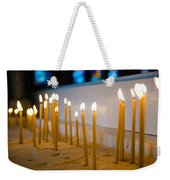 candles in the Catholic Church shallow depth of field Weekender Tote Bag