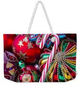 Candy Canes And Colorful Ornaments Weekender Tote Bag